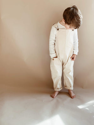 Charlie Overalls - Vanilla (Sizes 4 & 5) - Lupine and Luna