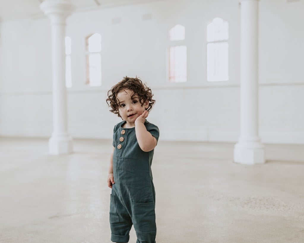 Avery Romper - Teal Linen (SIZES 000, 00) - Lupine and Luna