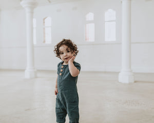 Avery Romper - Teal Linen - Lupine and Luna