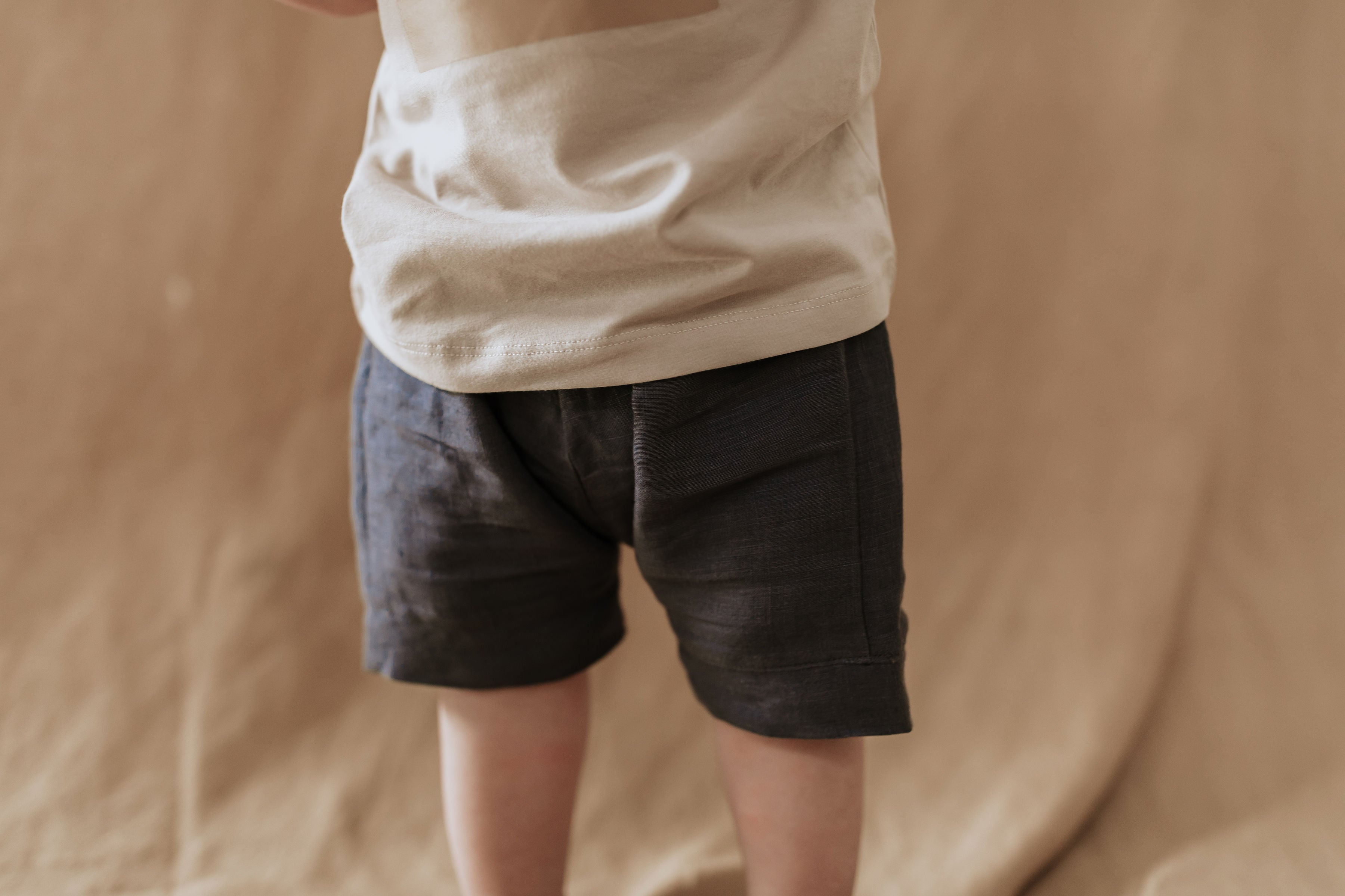 Sage shorts - Navy linen WAS $45 - Lupine and Luna
