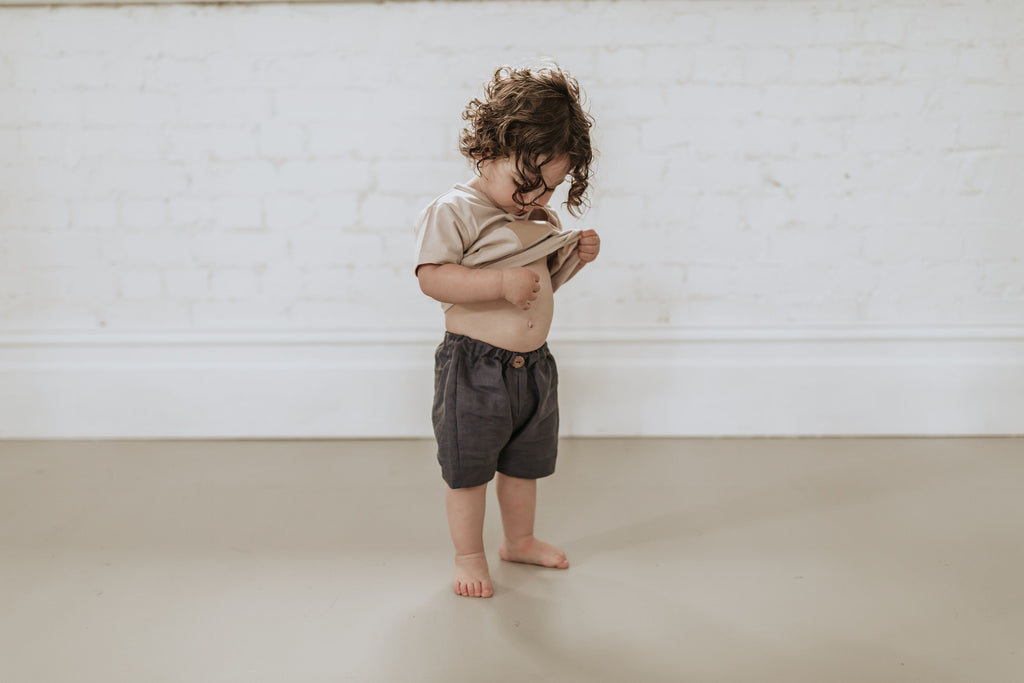 Sage shorts - Navy linen - (SIZES 0 - 4) - Lupine and Luna