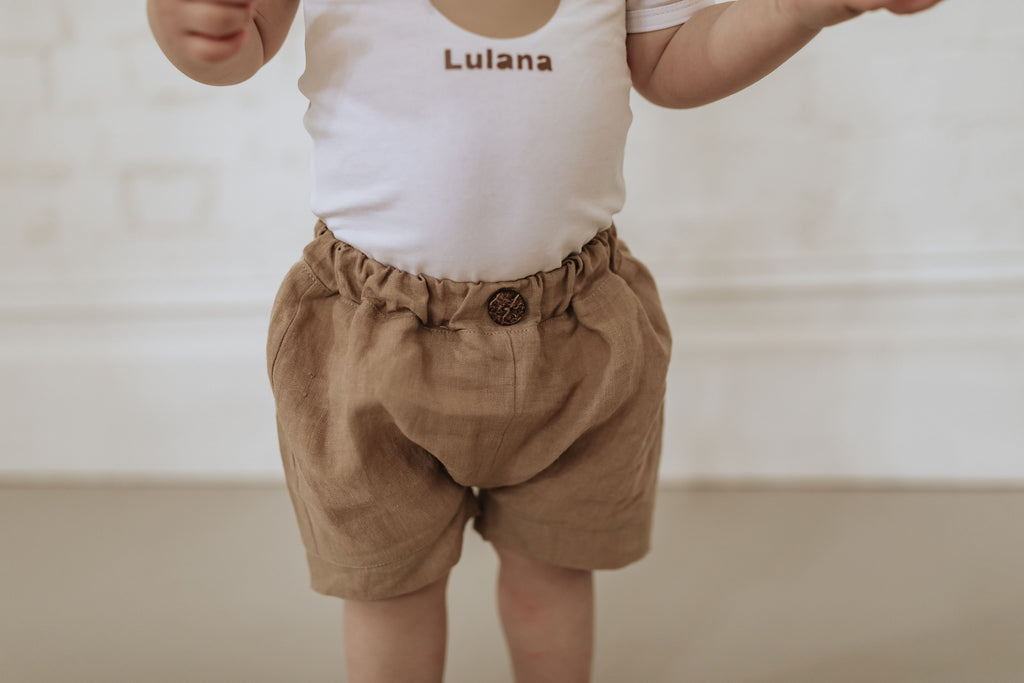 Sage shorts - Gold linen WAS $45 - Lupine and Luna