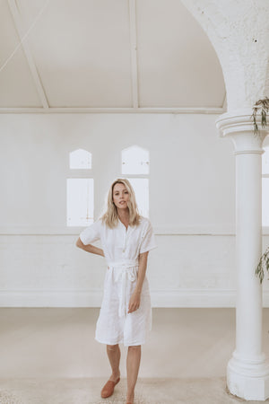 Ashlee Dress - White Linen - Lupine and Luna