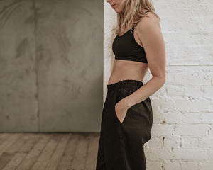 Milly Linen Pants - Black - Lupine and Luna