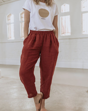 Milly Linen Pants - Deep Rust - Lupine and Luna