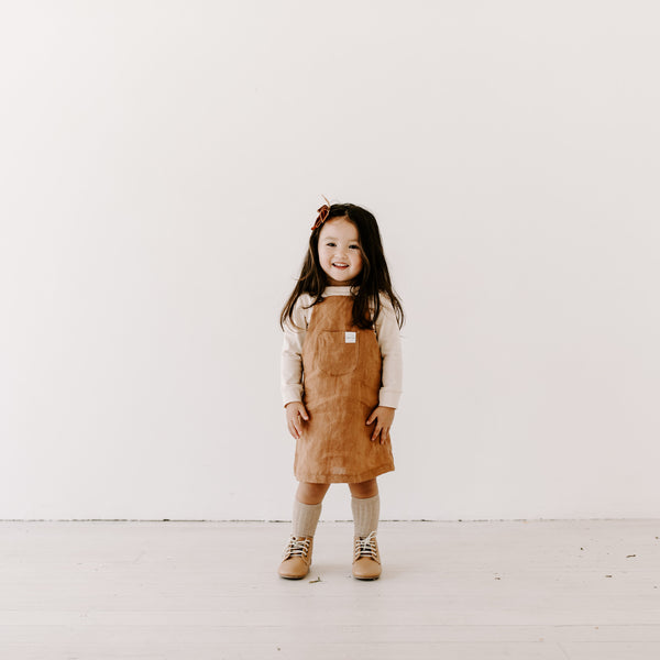 Clover Pinafore - Rust linen WAS $67