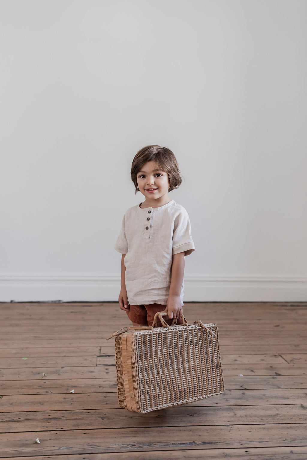 Ember Linen Tee Oat - Preorder - Lupine and Luna