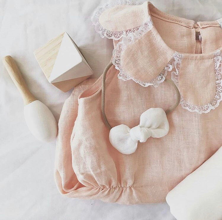 Petal romper - Peach linen WAS $50 - Lupine and Luna