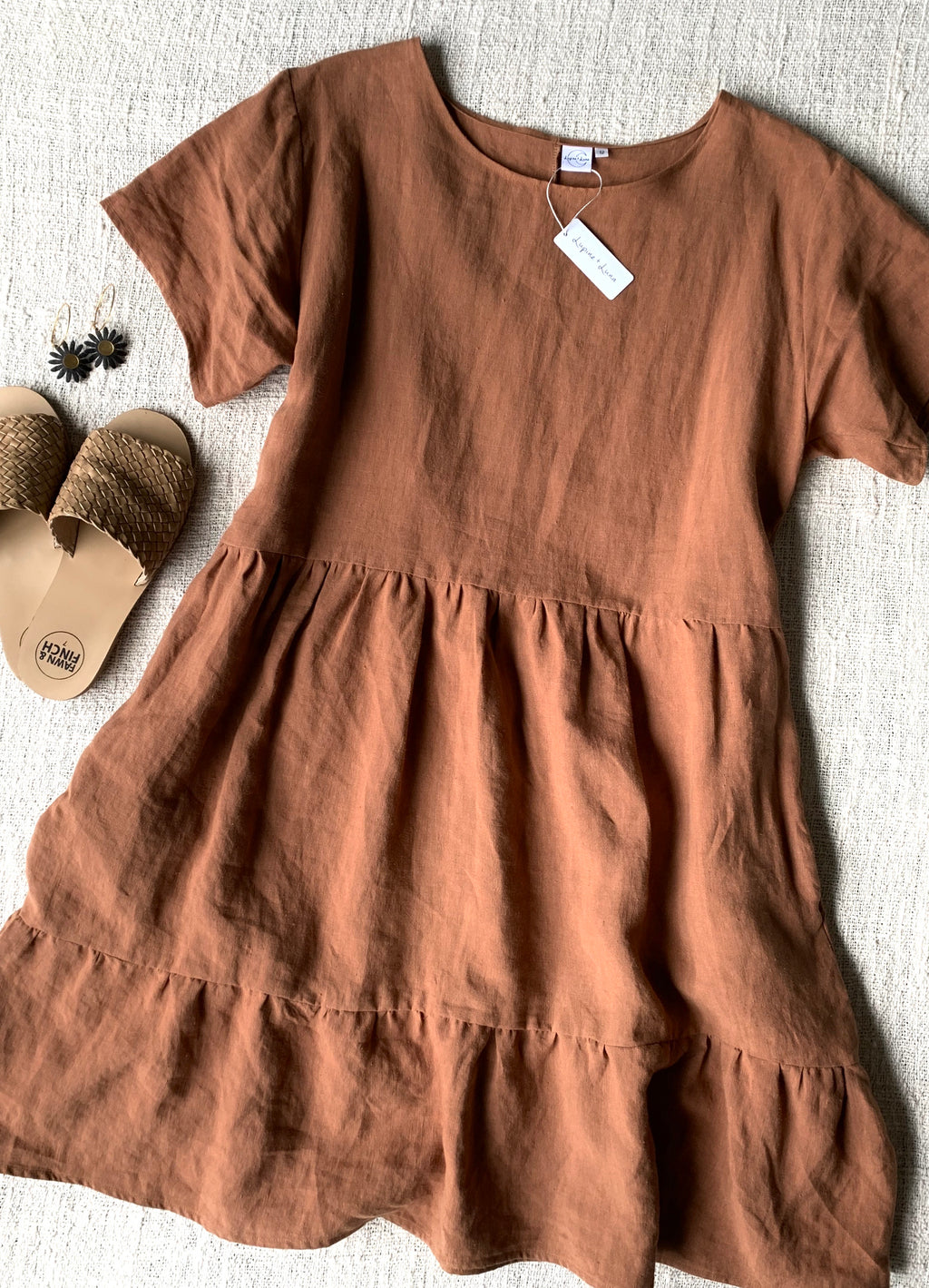 Zuri Linen Dress - Rust - Lupine and Luna