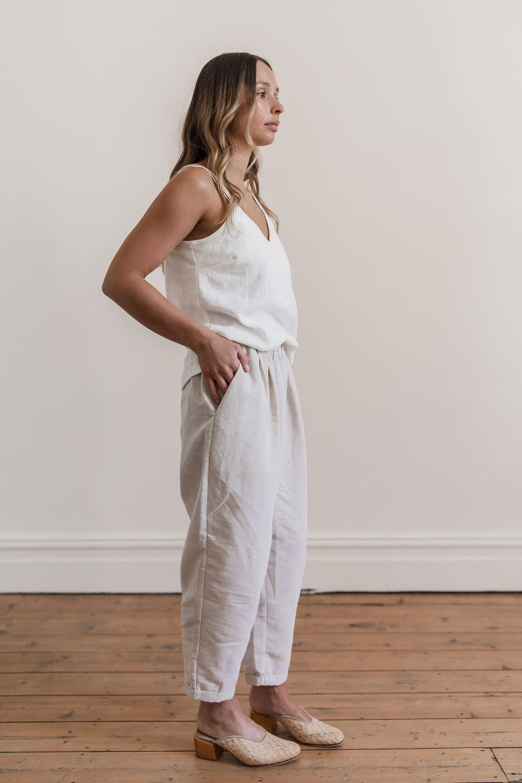 Milly Linen Pants Oatmeal - Lupine and Luna