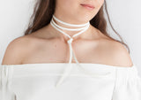 White Leather choker