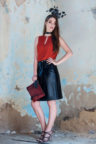 Wrap Leather Skirt in Black - freeatheart