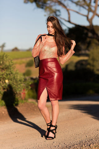 Adelia Plum Skirt -a buttery soft, knee length leather skirt with front 'V' Split