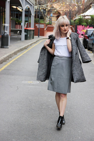 Wrap Leather Skirt in Grey