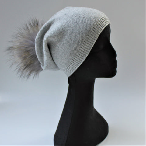 Slouch Pompom Beanie - Light Grey - freeatheart
