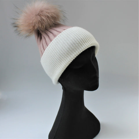 Alps Dusty Pink/Snow Beanie - angora/wool rib knit beanie with fur pompom