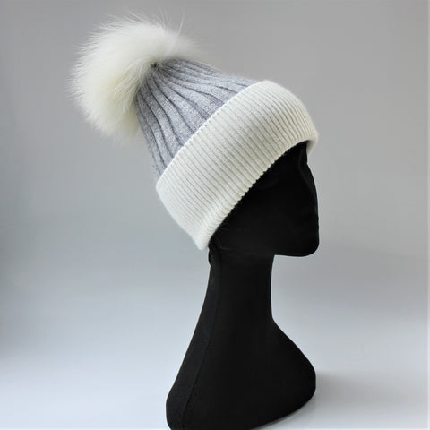 Alps Grey/Snow Beanie - angora/wool rib knit beanie with fur pompom