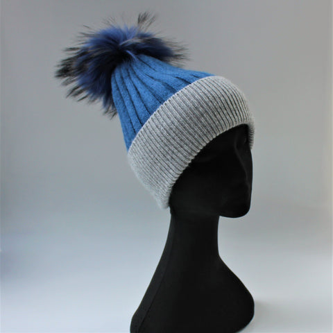 Alps Denim/Grey Beanie - angora/wool rib knit beanie with fur pompom