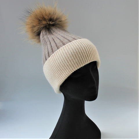 Alps Coffee/Sand Beanie - angora/wool rib knit beanie with fur pompom
