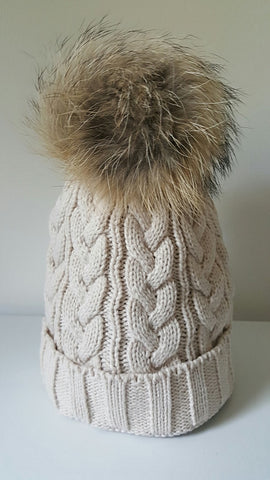 Sand Cable Knit Beanie with Fur Pompom - freeatheart
