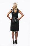 Longline Leather Vest with Suede Lapels and Tie Belt Waist - freeatheart