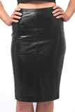 Black Leather Pencil Skirt with Back Kick Split - freeatheart