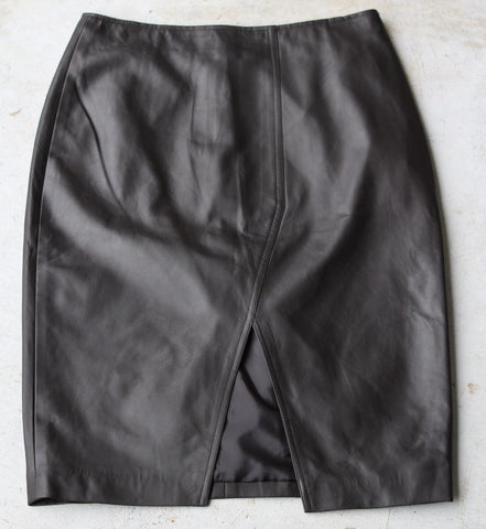 Fitted Leather Skirt with Front Split in Dark Chocolate - freeatheart