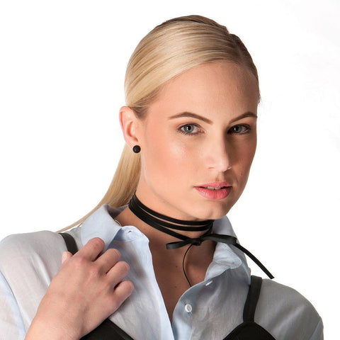 Anak Black Leather Choker Lariat