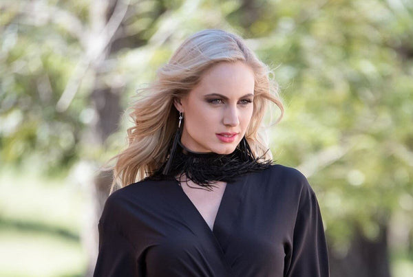 Azar Choker - black leather and feather