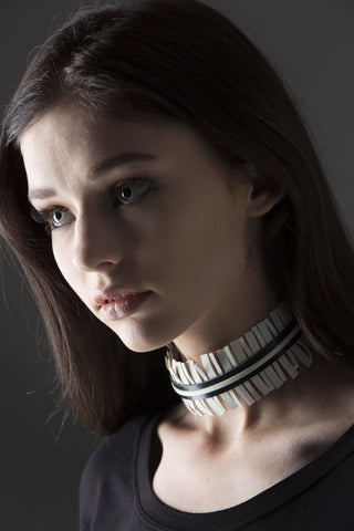 Amari White and Black Fringe Leather Choker