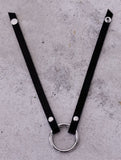 Azir Choker Necklace - black leather and metal ring
