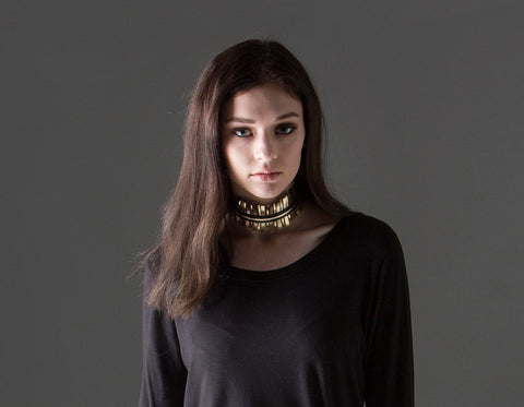 Amari Choker - gold and black leather