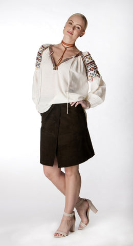Abigail Chocolate Skirt - Dark Choc,  suede, A-line, wrap skirt with adjustable waist