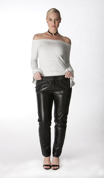 Ami Black Leather Pant - drawstring elastic waist with side pockets and so comfortable to wear