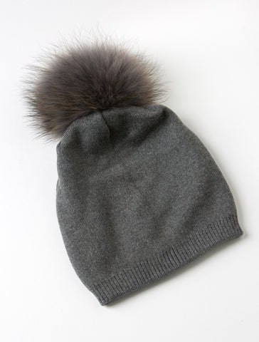 Analise Charcoal Grey Slouch Beanie in Wool Blend Knit with detachable Raccoon Fur Pompom
