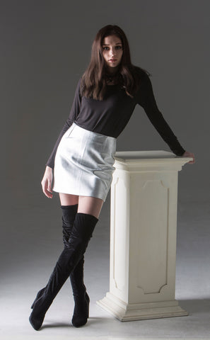 Adora Silver Skirt - metallic leather, fitted mini