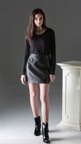 Fitted Leather Mini Skirt - Black