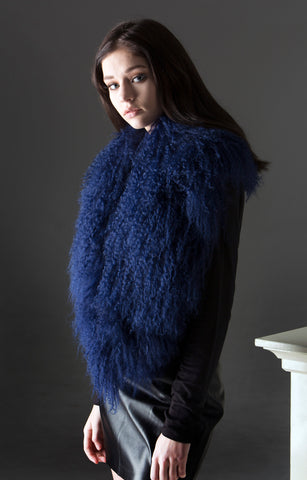 Mongolian Wool Shawl/Collar - Navy