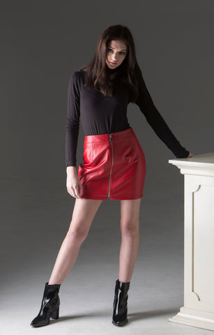 Amoret Mini Skirt - red leather mini with a front zip from waist to hem
