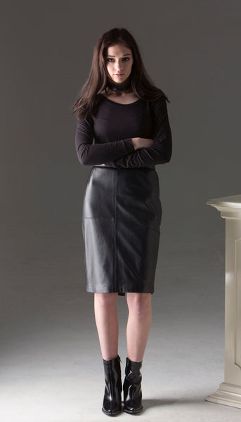Black Leather Pencil Skirt with Back Kick Split