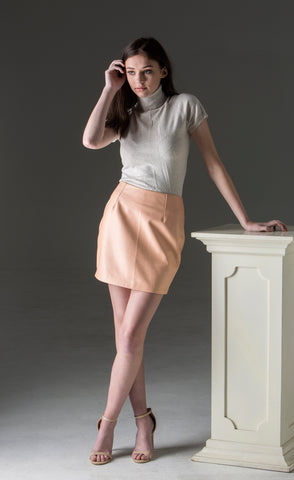 Fitted Leather Mini Skirt - Coral