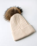 Aspen Beanie Sand - angora/wool blend hat with detachable fur pompom