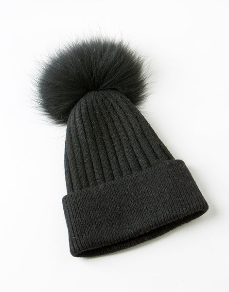 Aspen Beanie Black - angora/wool beanie with detachable fur pompom