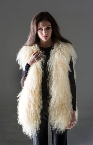 Ambrosia Vest - soft and fluffy Tibetan wool vest with side pockets and paisley lining in cream