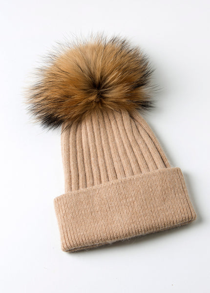 Aspen Beanie Wheat - rib knit, angora wool blend hat with detachable fur pompom