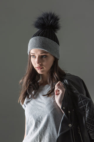 Alps Black/Grey Beanie - angora/wool rib knit beanie with fur pompom