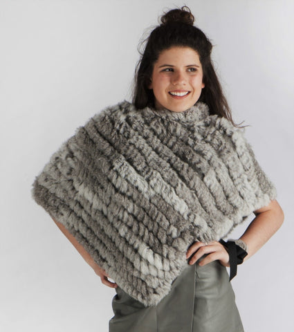 Rabbit Fur Poncho in Natural Grey - freeatheart