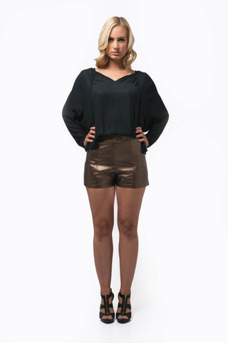 Amy Gold Shorts - antique gold, high waist, flat front with side zip short