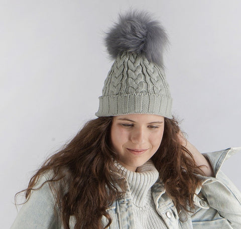 Arlberg Grey Beanie - cable knit, wool blend hat with fur pompom