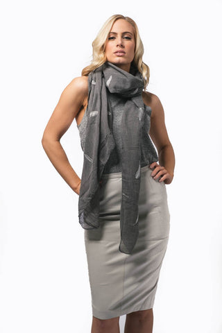 Atrous Dove Grey Skirt - classic real leather pencil skirt with zip and kick split at the back